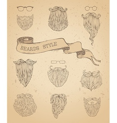 Set of hipster beards and eyeglasses vector