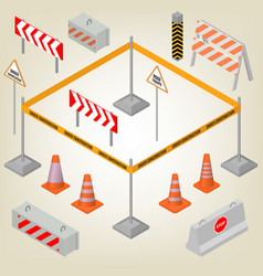 Set of road signs repairs in isometric vector