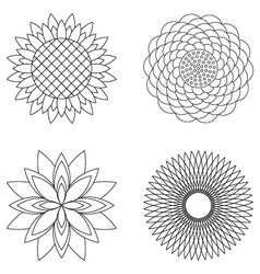 Set simple floral mandalas black and white vector
