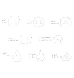 set with geometry formulas vector image
