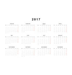Simple modern calendar 2017 in German vector image