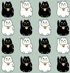 Sketch maneki neko seamless pattern vector image