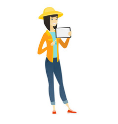 smiling farmer holding tablet computer vector image