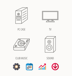 Sound club music and pc case icons vector