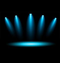 Spotlight and stage blue illuminated scene vector