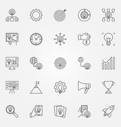 startup icons set start-up business vector image