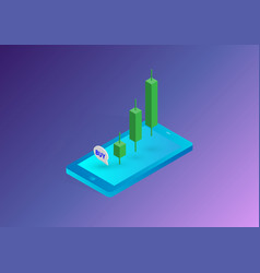 Stock market investment trading on mobile vector