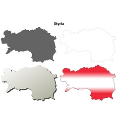 Styria blank detailed outline map set vector