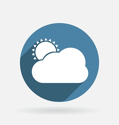 Sun behind the cloud Circle blue icon with shadow vector