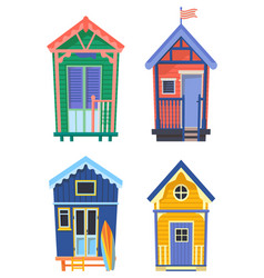surfer houses or usa bungalow with surfer board vector image