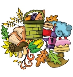 Thanksgiving doodle art design vector