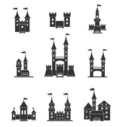 Towers and castles icons set vector
