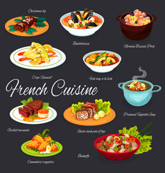 Traditional french meals france cuisine menu vector