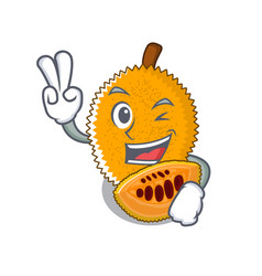 Two finger gac fruit with character shape vector