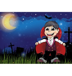 Vampire on a old cemetery vector image