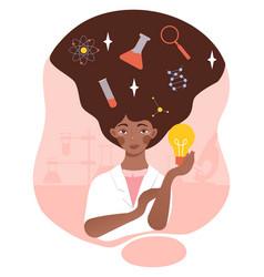 Woman scientist concept vector