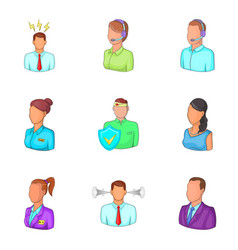 Workaholic icons set cartoon style vector