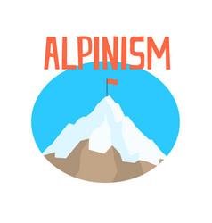 Alpinism badge peak mountain label vector