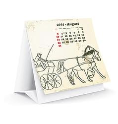 August 2014 desk horse calendar vector