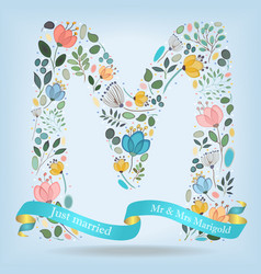 floral letter m with blue ribbon vector image vector image