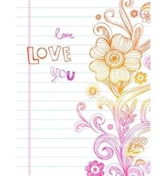 Hand-Drawn Sketch floral composition vector image vector image