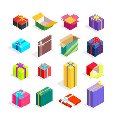 isometric gift boxes set vector image vector image