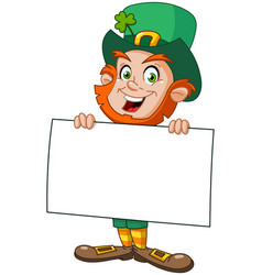 leprechaun with sign vector image vector image