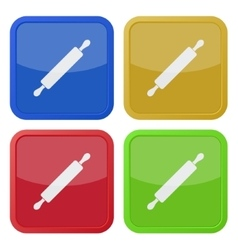 set of four square icons with rolling pin vector image vector image