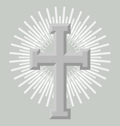 Silver holy cross icon isolated vector