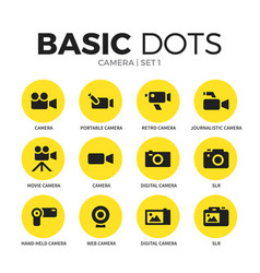 camera flat icons set vector image