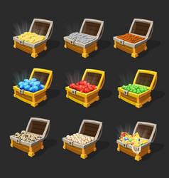 isometric treasure chests set vector image