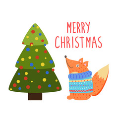 merry christmas greetings cartoon fox or squirrel vector image vector image