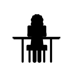 silhouette woman sit in desk with computer vector image