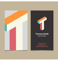 business card letter T vector image