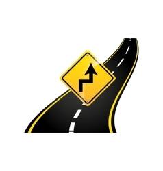 curves road sign concept asphalt graphic vector image