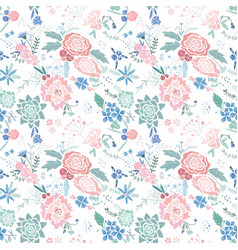 embroidery floral pattern vector image vector image