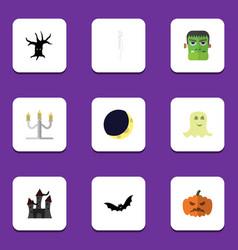 flat icon halloween set of crescent pumpkin vector image vector image