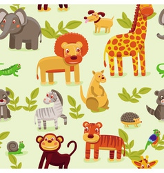 seamless pattern with cartoon animals vector image vector image