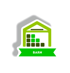 stylish icon in paper sticker style building barn vector image vector image
