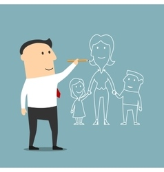Businessman dreaming about family and love vector image