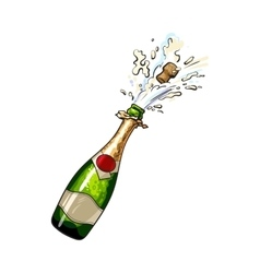 Champagne bottle with cork popping out vector image