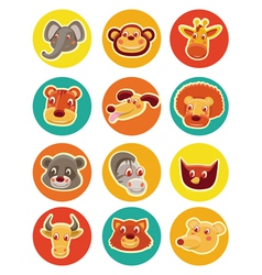 funny animal heads - set of vector image