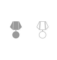 medal grey set icon vector image vector image