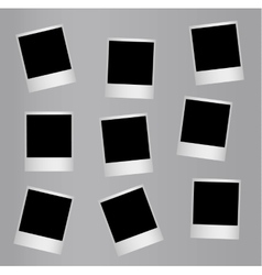 Randomly distributed retro blank photo frames vector image