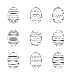 set of easter eggs with stripes polka dot vector image vector image