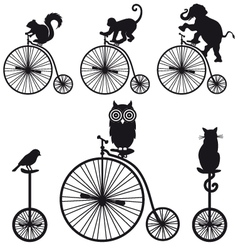 Vintage bicycle with animals set vector