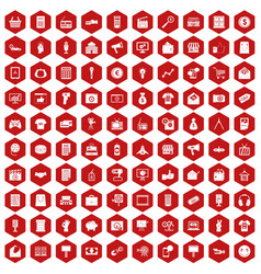 100 marketing icons hexagon red vector
