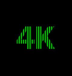 4k alphabet digital neon light green on black vector