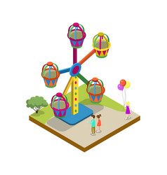 Amusement park carousel isometric 3d element vector