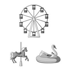 Amusement park monochrome icons in set collection vector